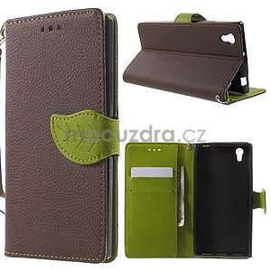 Supreme peňaženkové puzdro pre Lenovo P70 - hnedé/zelené - 1