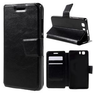 Peňaženkové PU kožené puzdro pre mobil Doogee X5 - čierne - 1