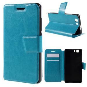Peňaženkové PU kožené puzdro pre mobil Doogee X5 - modré - 1