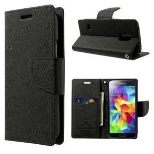 Diary PU kožené pouzdro na Samsung Galaxy S5 mini - černé - 1