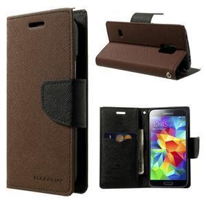 Diary PU kožené puzdro pre Samsung Galaxy S5 mini - hnedé - 1
