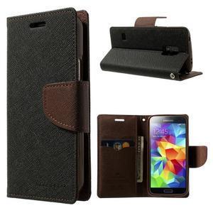 Diary PU kožené puzdro pre Samsung Galaxy S5 mini - čierne/hnedé - 1
