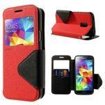 Pěněženkové pouzdro s okýnkem pro Samsung Galaxy S5 mini - červené - 1/7