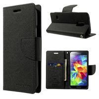 Diary PU kožené pouzdro na Samsung Galaxy S5 mini - černé - 1/7