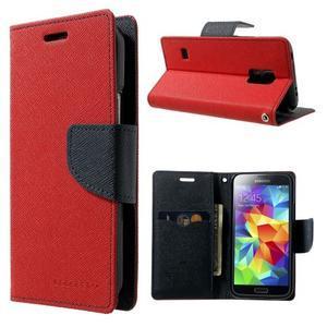 Diary PU kožené puzdro pre Samsung Galaxy S5 mini - červené - 1