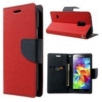 Diary PU kožené pouzdro na Samsung Galaxy S5 mini - červené - 1/7