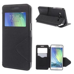 Štýlové puzdro s okienkom pre Samsung Galaxy A5 - čierné - 1
