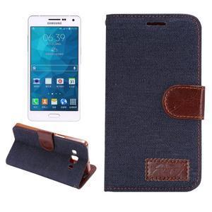Jeans peňaženkové puzdro na Samsung Galaxy note 3 - černomodré - 1