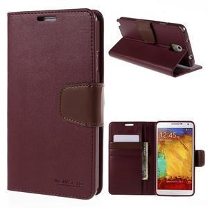 Setsnow PU kožené puzdro na Samsung Galaxy Note 3 - vínové - 1