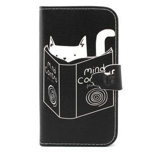 Peňaženkové puzdro pre mobil Samsung Galaxy S3 - mačička s knihou - 1