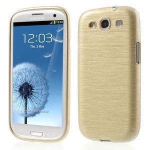 Brush gélový kryt pre Samsung Galaxy S III / Galaxy S3 - zlatý - 1