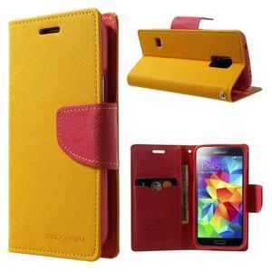 Diary PU kožené pouzdro na Samsung Galaxy S5 mini - žlutooranžové - 1