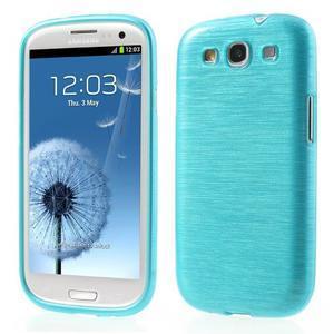 Brush gélový kryt na Samsung Galaxy S III / Galaxy S3 - modrý - 1