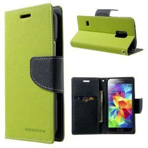 Diary PU kožené puzdro pre Samsung Galaxy S5 mini - zelené - 1