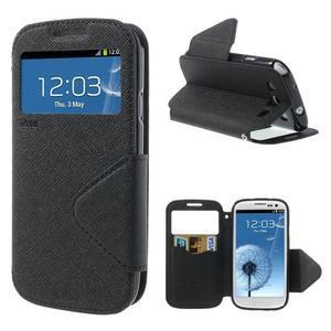 Peňaženkové puzdro s okýnkem pre Samsung Galaxy S3 / S III - čierné - 1
