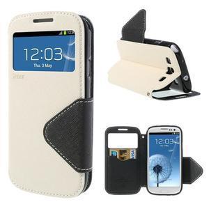 Peňaženkové puzdro s okienkom pre Samsung Galaxy S3 / S III - biele - 1