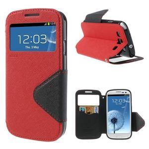Peňaženkové puzdro s okýnkem pre Samsung Galaxy S3 / S III - červené - 1
