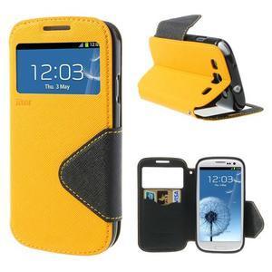 Peňaženkové puzdro s okienkom pre Samsung Galaxy S3 / S III - žlté - 1