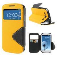 Peňaženkové puzdro s okýnkem pre Samsung Galaxy S3 / S III - žlté - 1/7