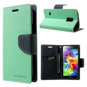 Diary PU kožené pouzdro na Samsung Galaxy S5 mini - azurové - 1