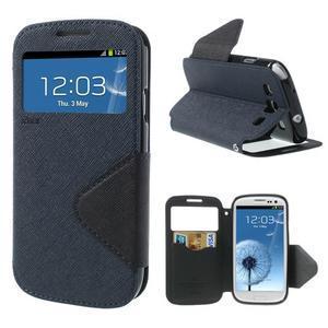 Peňaženkové puzdro s okýnkem pre Samsung Galaxy S3 / S III - tmavo modré - 1