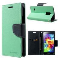 Diary PU kožené pouzdro na Samsung Galaxy S5 mini - azurové - 1/7