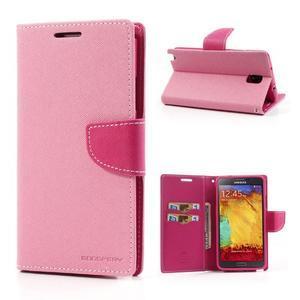 Goosp PU kožené puzdro na Samsung Galaxy Note 3 - růžové - 1