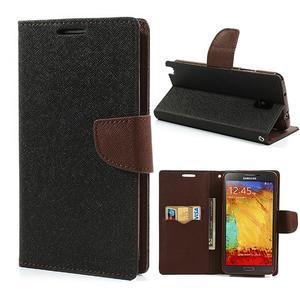 Goosp PU kožené puzdro pre Samsung Galaxy Note 3 - čierné/hnedé - 1