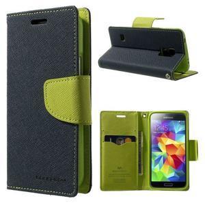 Diary PU kožené puzdro pre Samsung Galaxy S5 mini - tmavomodré - 1