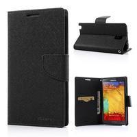 Goosp PU kožené puzdro pre Samsung Galaxy Note 3 - čierné/hnedé - 1/7