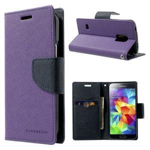 Diary PU kožené puzdro pre Samsung Galaxy S5 mini - fialové - 1