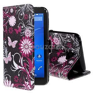 Koženkové puzdro pre mobil Sony Xperia E4 - motýľe - 1