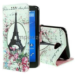 Koženkové puzdro pre mobil Sony Xperia E4 - Eiffelova veža - 1