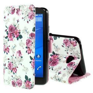 Koženkové puzdro pre mobil Sony Xperia E4 - ruže - 1