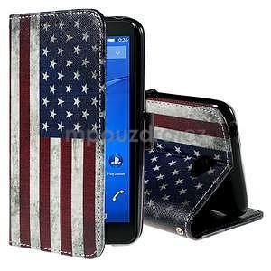 Koženkové puzdro pre mobil Sony Xperia E4 - US vlajka - 1
