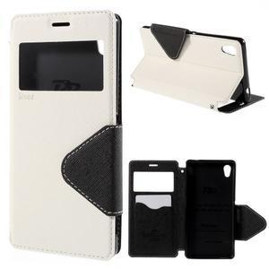 Peňaženkové puzdro s okienkom pre Sony Xperia M4 Aqua - biele - 1