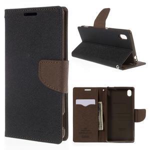 Ochranné puzdro pre Sony Xperia M4 Aqua - čierne/hnedé - 1