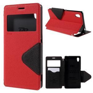 Peňaženkové puzdro s okienkom pre Sony Xperia M4 Aqua - červené - 1