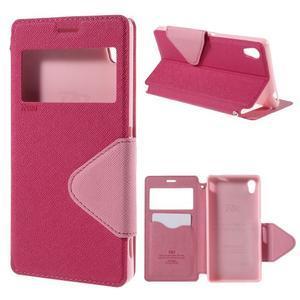 Peněženkové pouzdro s okýnkem pro Sony Xperia M4 Aqua - růžové - 1