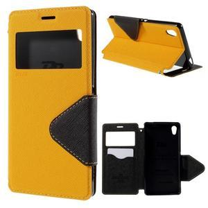 Peňaženkové puzdro s okienkom pre Sony Xperia M4 Aqua - žlté - 1