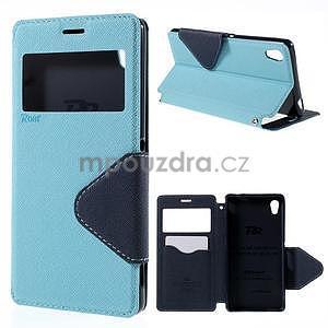 Peňaženkové puzdro s okienkom pre Sony Xperia M4 Aqua - svetlomodré - 1