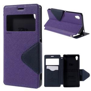 Peňaženkové puzdro s okienkom pre Sony Xperia M4 Aqua - fialové - 1
