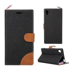 Jeans Peňaženkové puzdro pre mobil Sony Xperia M4 Aqua - čierne - 1