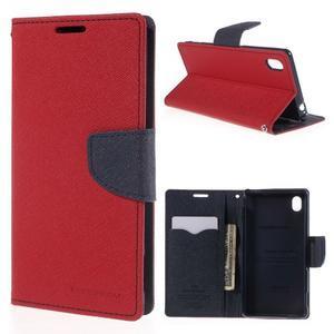 Ochranné puzdro pre Sony Xperia M4 Aqua - červené/tmavomodré - 1