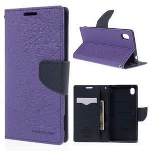 Ochranné puzdro pre Sony Xperia M4 Aqua - fialové/tmavomodré - 1