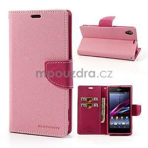 Fancy peněženkové pouzdro na mobil Sony Xperia Z1 - růžové - 1