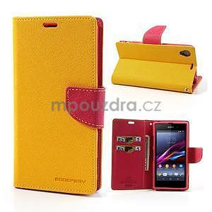 Fancy Peňaženkové puzdro pre mobil Sony Xperia Z1 - žlté - 1