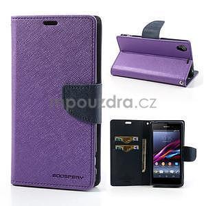 Fancy peněženkové pouzdro na mobil Sony Xperia Z1 - fialové - 1