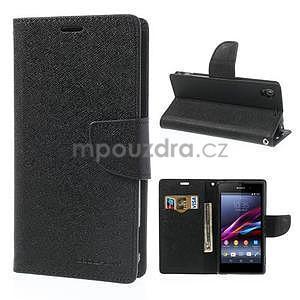 Fancy Peňaženkové puzdro pre mobil Sony Xperia Z1 - čierne - 1