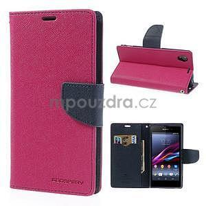 Fancy Peňaženkové puzdro pre mobil Sony Xperia Z1 - rose - 1